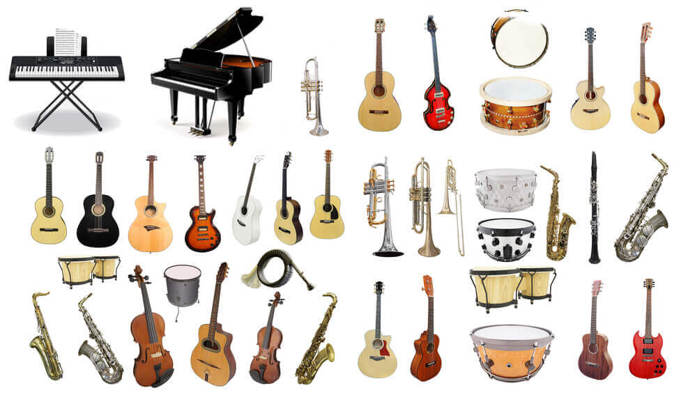 Different types of musical instruments.